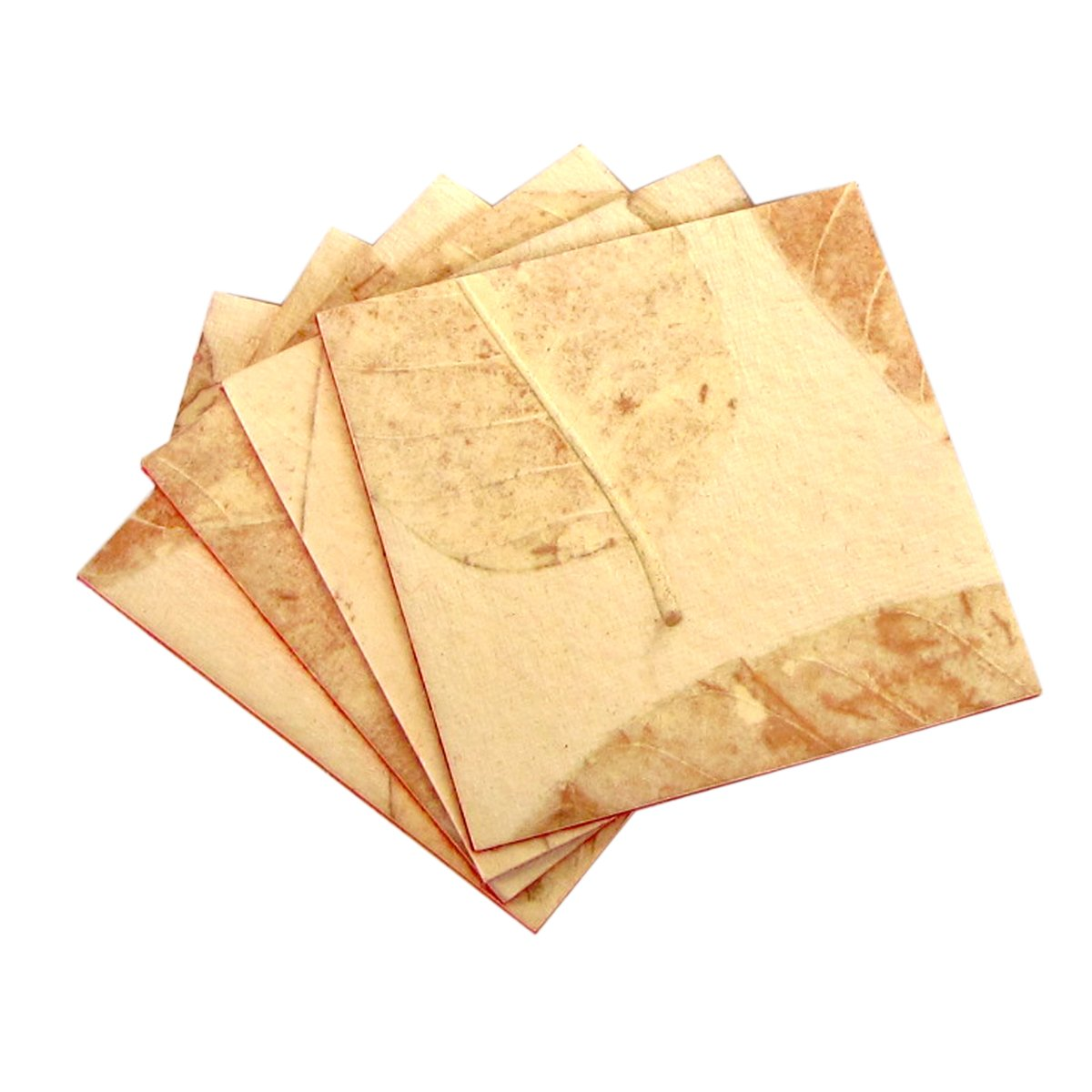 Set 4 coasters natural leaf handmade heavy coated paper craft home decor Xmas gifts felt backs sand