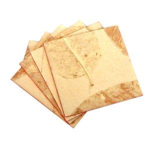 Set 4 coasters natural leaf handmade heavy coated paper craft home decor Xmas gifts felt backs sand