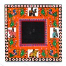 Picture photo frame wood handmade 3.5x3.5 orange hand carved Indian folk art craft Xmas present
