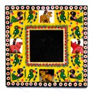 Wooden craft handmade Moms photo picture frame 3.5x3.5 yellow square hand carved Indian folk art crafts