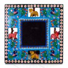 Handmade wedding gift craft wood photo frame pictures 3.5x3.5 blue hand carved Indian folk art