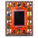 Xmas gift wood craft handmade photos picture frame 3.5x4.5 (8x10) orange hand carved Indian folk art