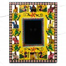 Handmade wooden photo picture frame craft Xmas 3.5x4.5 (8x10) yellow hand carved Indian folk art