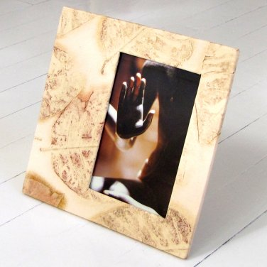 Xmas mom present photo frame 4x6/5x7 handmade tree free paper cream natural leaf