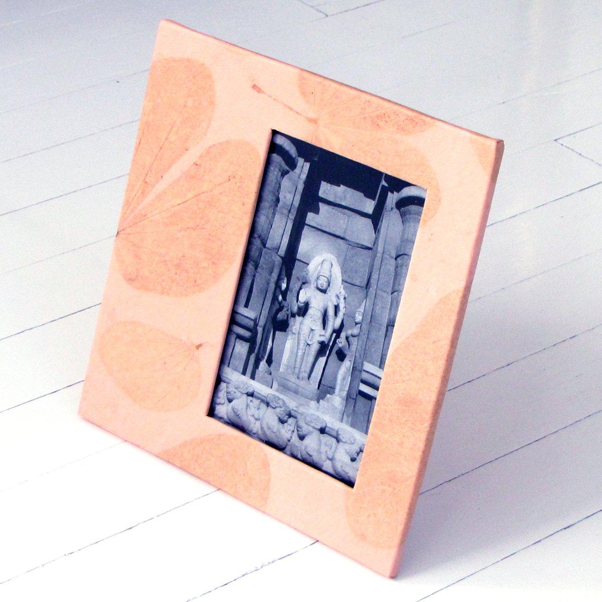 Photo frame anniversary gift handmade pink heart leaf imprint paper 4x6/5x7