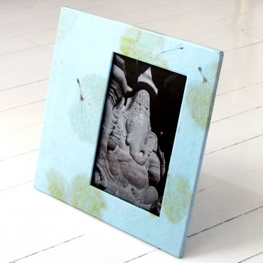 Handmade baby mom photo frame 4x6/5x7 light blue natural heart leaf paper craft mom present