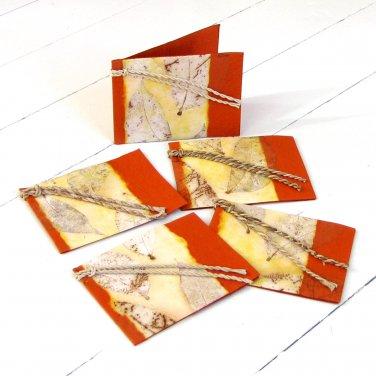 Handmade gift tags 3x2.5 dark orange set 5 natural leaf craft paper mom present