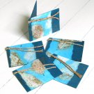 Handmade gift ideas gift tags set 5 teal natural leaf handcrafted tree free craft paper 3x2.5