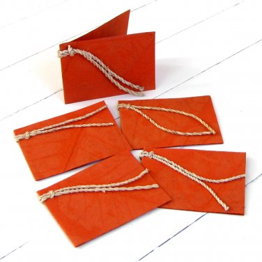 Handmade gift tags stationery thank you 3x2.5 dark orange natural leaf craft paper gift ideas