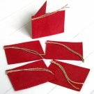 Red natural leaf gift tags handmade craft paper Xmas present set5 3x2.5 folded