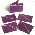 Handmade gift tags labels cards presents set 5 purple 3x2.5 handmade leaf craft paper