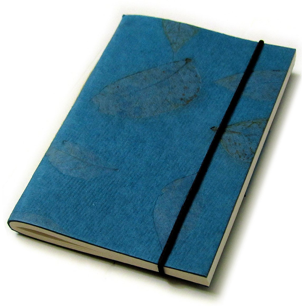 Handmade natural leaf paper stationery notebooks 3x5 40pp blank journal teal recycled