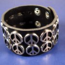 Black Wide leather Peace sign cuff bracelet new