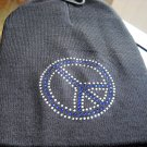 peace  sign  beanie  hat new studded blue knit new