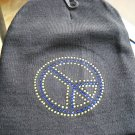 peace  sign  beanie  hat new studded yellow/blue knit new