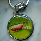 Mama pig & piglets  steel photo keychain doublesided