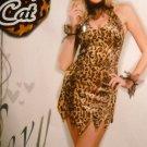 Womans costume wild cat animal print dress size med/lg +ears