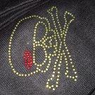 Biker Skull cross bones yellow studded black Knit Beanie Hat