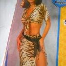 Jungle Jane Tiger stripe Womans costume 4 pc skirt tie halter belt dagger