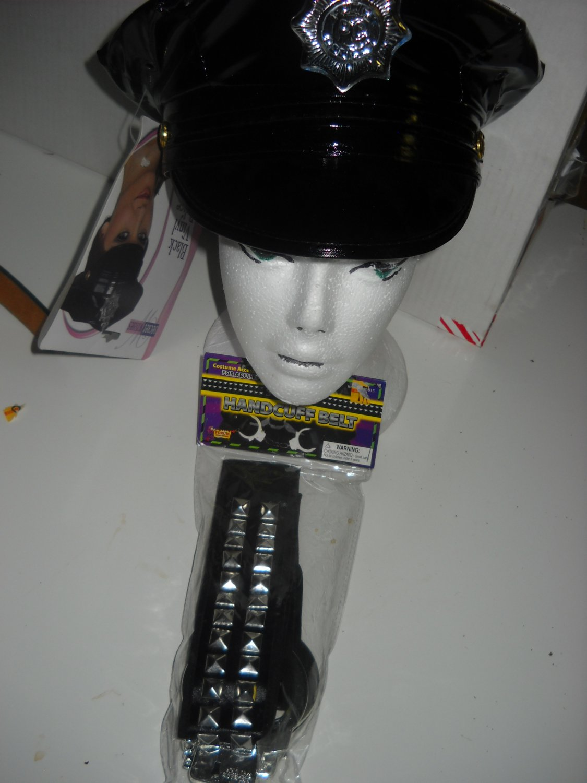 Police woman costume sexy accessory 2PC kit handcuff belt &Hat