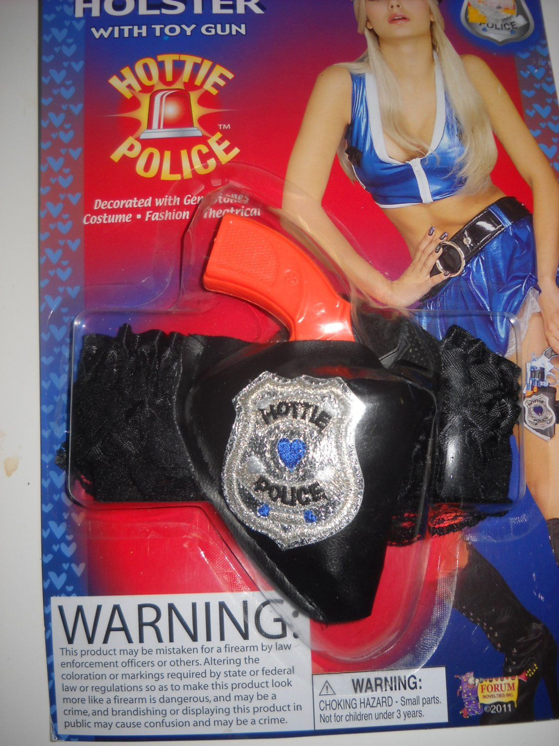Hottie police womans Gun holster garter black ruffle sexy costume accessory