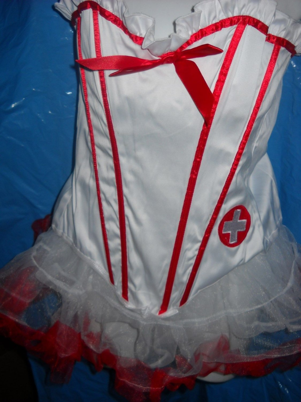 leg  Ave Naughty Nurse Bustier corset size LG 36 skirt thigh hi