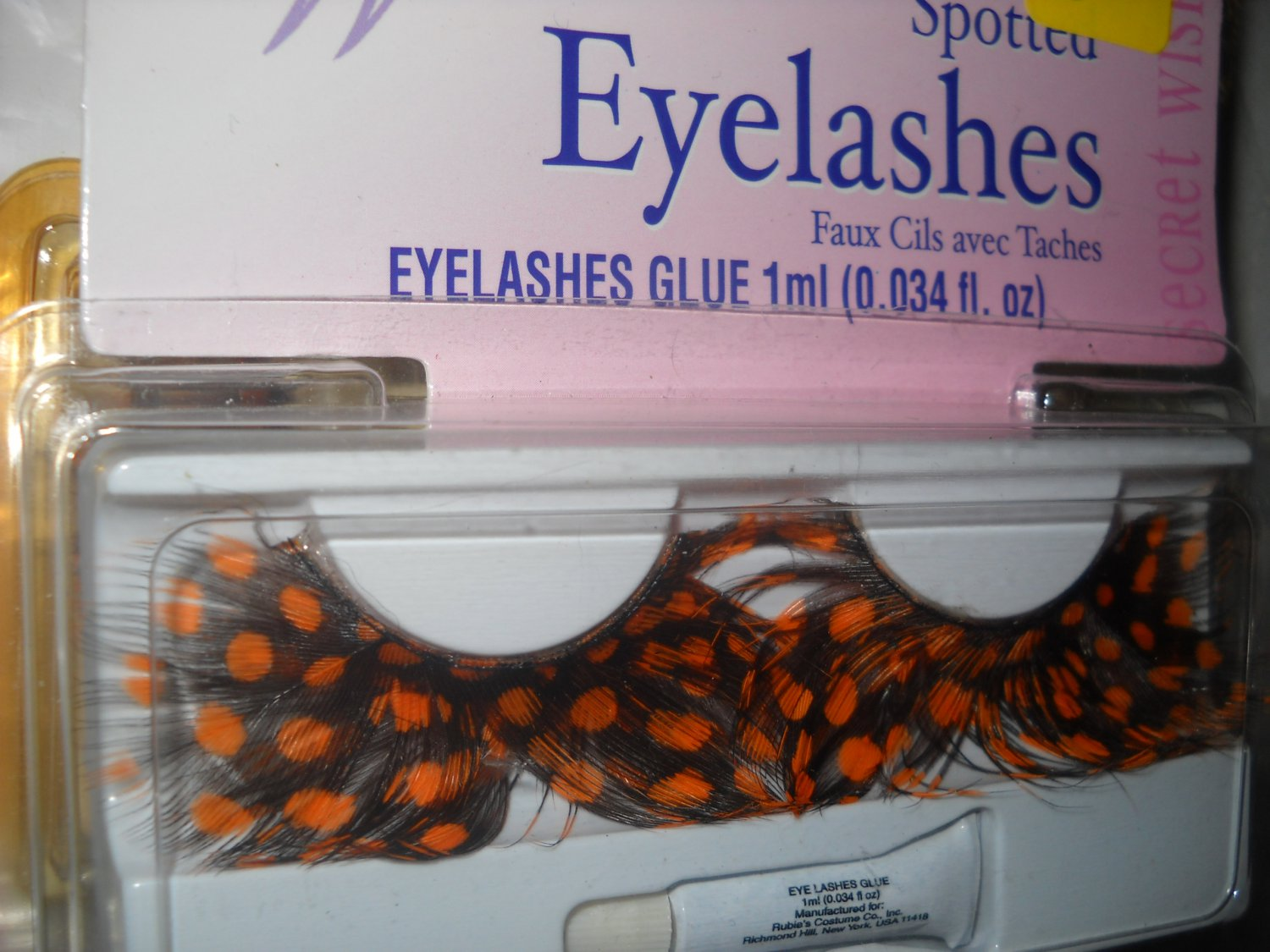 Spotted Feathered Costume Orange Eyelashes shipped free