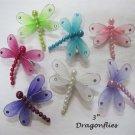 DRAGONFLY Girls Hair Clip Rhinestone Pearls Glitter New