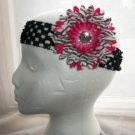 Girls Hot Pink Zebra Flower Daisy Black Headband Baby