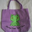 "Girls Frog Purple Bag ""Always Wear Your TIARA"" Tote New"