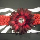 Red Crochet Headband w/ Burgundy Gerbera Flower Clip