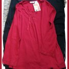 New Additions Maternity Red L/S Shirt Women L Large 12