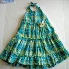 Girls Summer Blue Green Plaid Halter DRESS 2 2T 3 3T