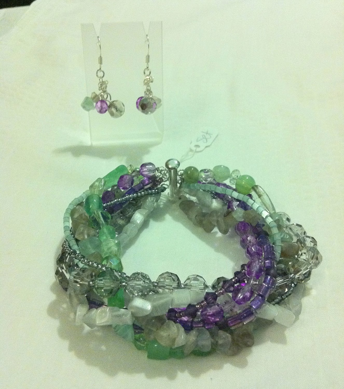 Beaded Braid Bracelet & Earrings