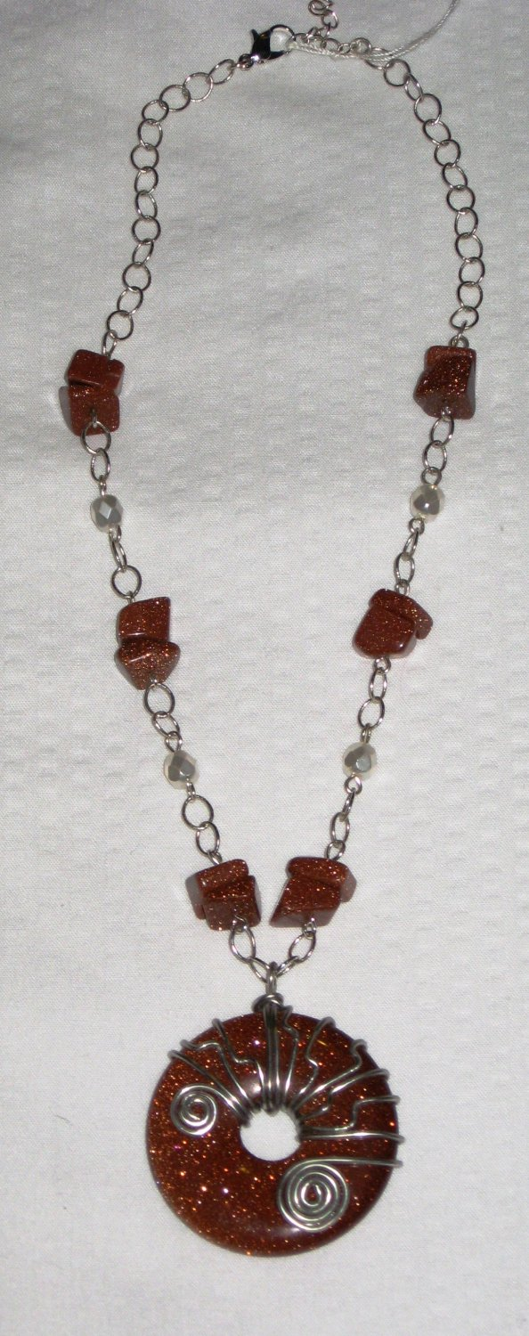 Wire Wrapped Goldstone Necklace