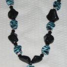 Blue Zebra Cross Necklace