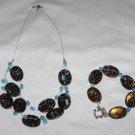 Blue Cheetah Necklace and Bracelet Set