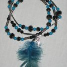 Blue Feather Bracelet Set