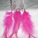 Purple Crystal Feather Earrings