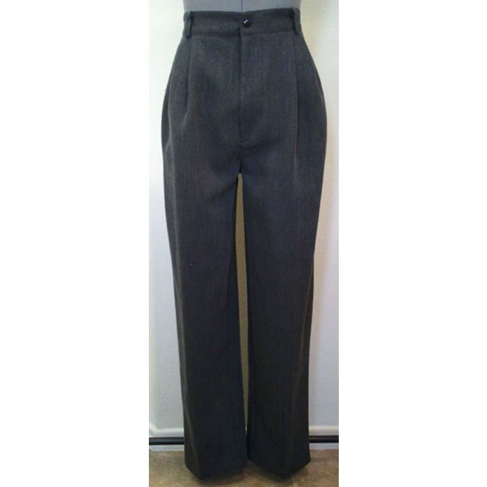 Womens Vintage Hillard & Hanson Dress Slacks Gray Tapered Leg Polyester Rayon Size 6