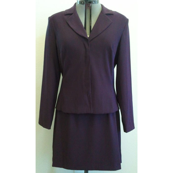 Womens Vintage City Triangles Skirt Suit Deep Purple Polyester Spandex Blend Size 13