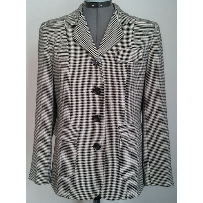 Womens Talbots Petites Blazer Lined Houndstooth Black White Imported Fabrics Size 4P