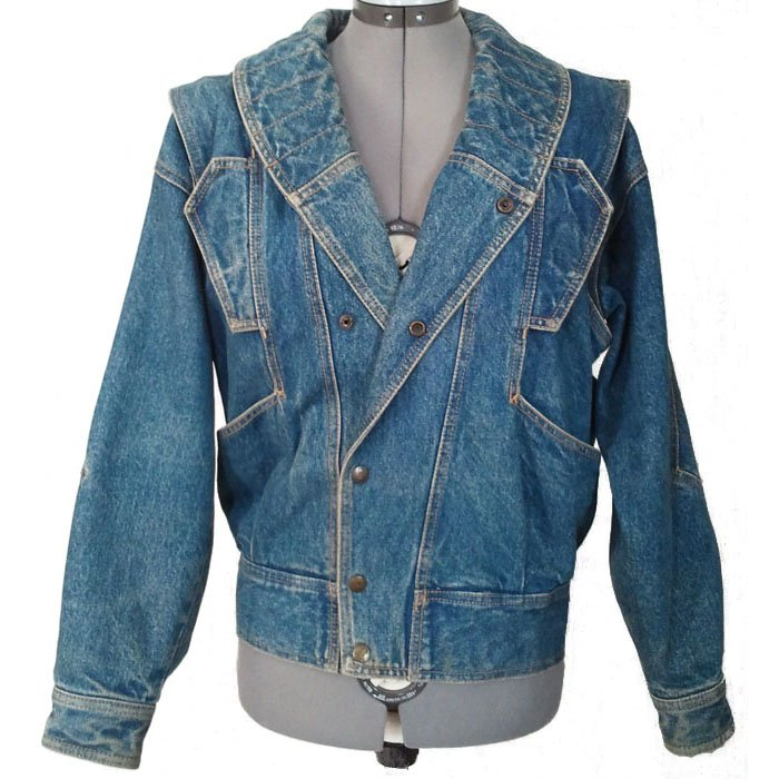 Misses Vintage Gasoline Denim Jacket Converts into Vest Junior Small 1983 Like New