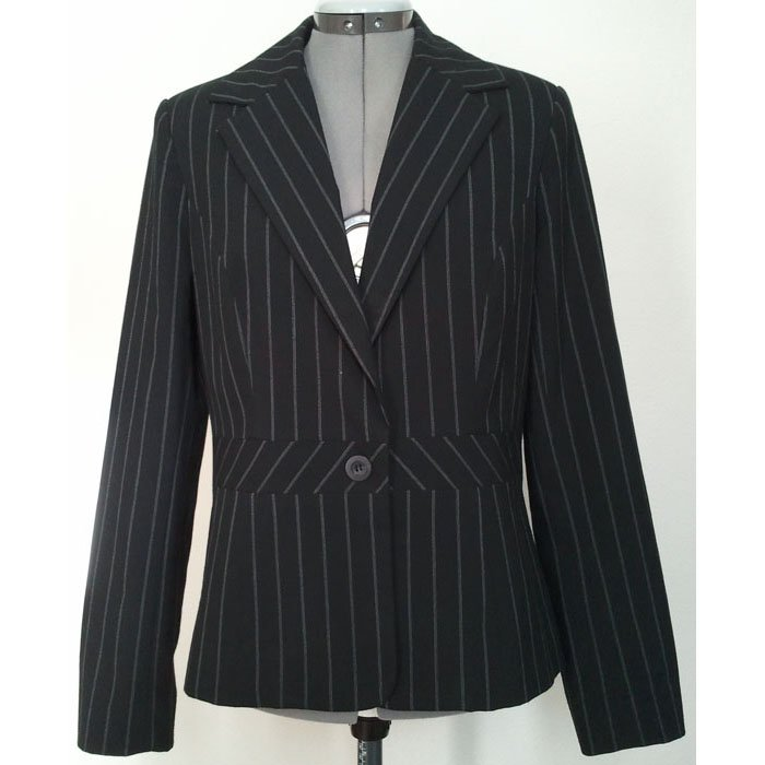 Womens Merona Blazer Lined Black Pin-Striped Polyester Rayon Spandex Size M Like New