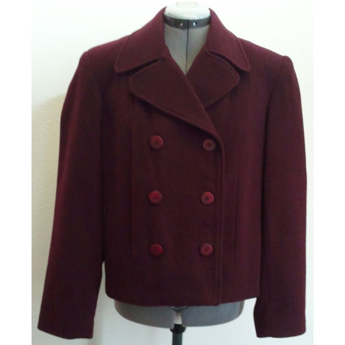 Womens Colebrook & Co Blazer Lined Solid Wine Wool Blend Size L
