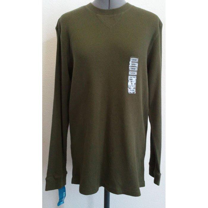 Mens Green Dog Cotton Thermal Shirt Long-Sleeved Pullover Green/Dark Fir L NWT