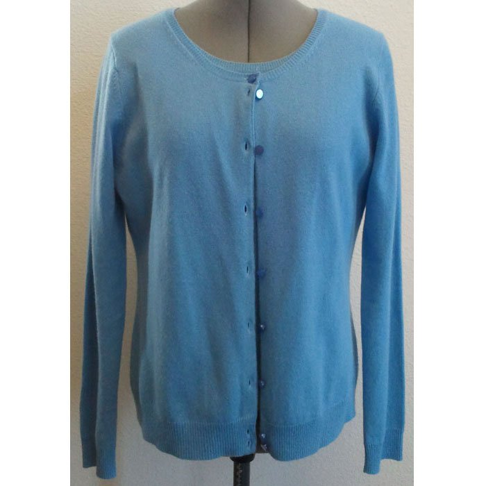 Womens Worthington Cashmere Cardigan and Blouse Set Periwinkle Blue Size L