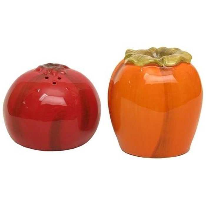 Salt and Pepper Shakers Pomegranates and Persimmons Porcelain Shaker Set 2pc