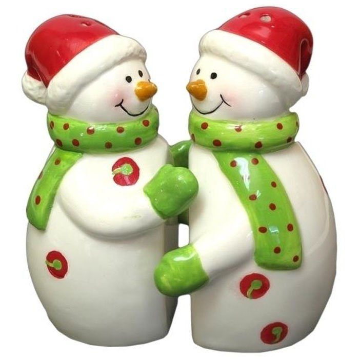 Salt and Pepper Shakers Hugging Snowman Couple Holiday Porcelain Shaker Set 2pc