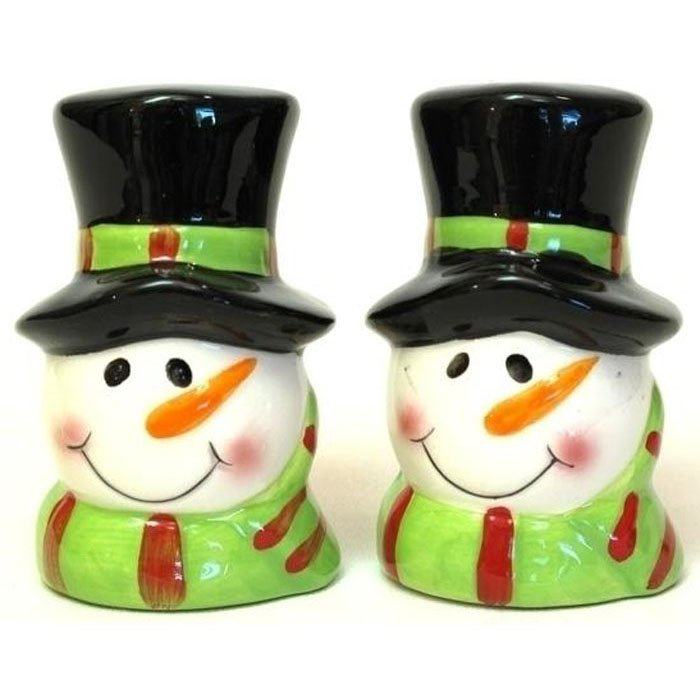 Salt and Pepper Shakers Dapper Snowman in Top Hat Holiday Porcelain Shaker Set 2pc